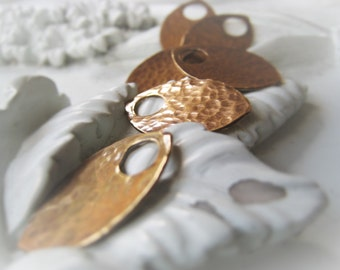 Gold Teardrop Pair Hammered Bronze Charm  Item No. 3359 3753