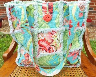 Tropical Colors Rag Tote - Rag Quilt Tote - Floral - aqua, green, pink - Mother's Day - Quilted Purse - Rag Quilt Handbag - Handmade Tote