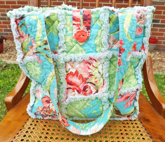 Tropical Colors Rag Tote - Rag Quilt Tote - Floral - aqua, green, pink - Quilted Purse - Rag Quilt Handbag - Handmade Tote