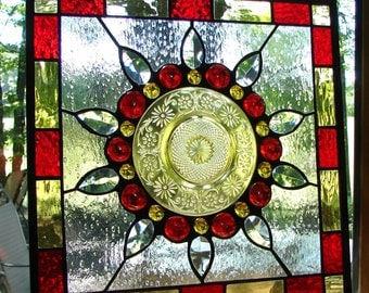Daisy Flower stained glass plate panel ruby amber