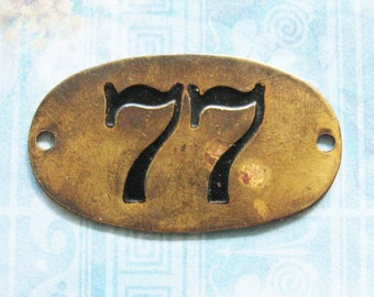 Rustic Brass Tag Number 77 Industrial Antique Vintage PO Box Painted Numbered Victorian ID Plate Repurpose Jewelry Locker Basket Hardware