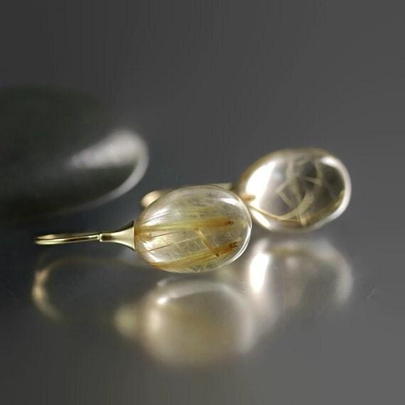 Golden rutilated quartz earrings 14k gold by for Golden rutilated quartz jewelry