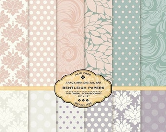 Bentleigh Digital Paper Pack for invites, card making, digital scrapbooking. Peach, Mauve,Cream Damask, Polka Dots, Modern patterns