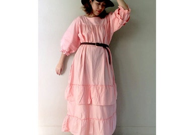 Sweet Pink Cotton Long Ruffle Maxi Dress Plus size Long Loose Tunic (D 5)