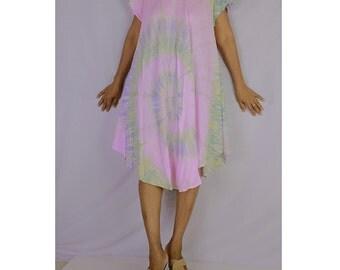 Women Maxi Gypsy Boho Hippie Summer Beach Tie Dye Rayon Comfy Dress (TD 25)