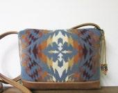 RESERVED FOR Sara Wool Cross Body Bag Purse Shoulder Bag Caramel Brown Leather Southwest Blanket Wool