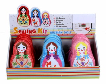RUSSIAN DOLL Sewing Kit Assortment Quilting Notion Scissors Tape Measure & More!