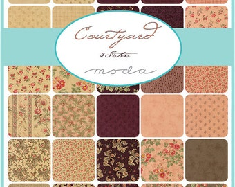"Moda COURTYARD Precut 5"" Charm Pack Fabric Quilting Cotton Squares 3 Sisters 44120PP"