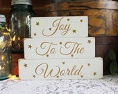 Joy to the World Christmas Shelf Sitter Blocks Decoration for Christmas Holiday Sign