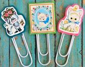 Vintage Kittens Jumbo Paperclip Bookmark -- Set of 3