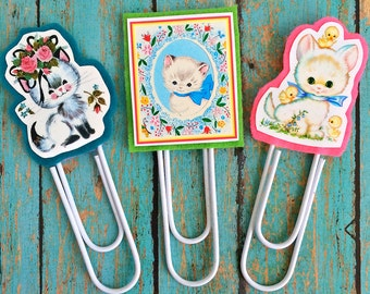 Vintage Kittens Jumbo Paperclip Bookmark -- Set of 3