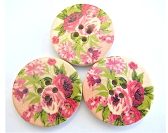 6 Wood  buttons,  rose flower ornament, 30mm, new buttons