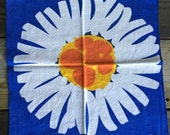 Mid century modern mod orange yellow blue sunburst sun flower home decor linen napkins set of 4 SCUDA brand scandinavian