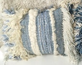 Bohemian vintage wool woven blue and off white fiber art wall hanging pillow cushion boho modern minimalist home decor neutrals rustic peru