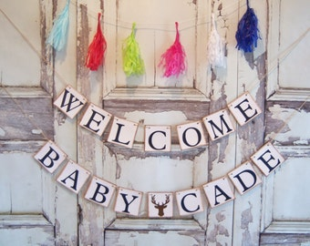 Welcome Baby Banner. Rustic Baby Shower, Woodlands theme,Baby shower Banner, Baby Shower, Baby Shower Decor, Welcome Baby, Welcome Baby Sign