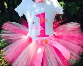 Baby Girl 1st Birthday Outfit - Flamingo Birthday Tutu - Pink Flamingo First Birthday