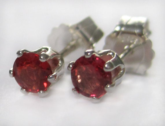 Red Ruby Studs 5mm Sterling Silver With Genuine Precious Ruby Stone July Birthstone