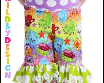 YOU pick the fabric Ruffle Shorts Shorties for Child Yoga Shorts Knit Shorts