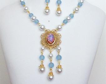 Renaissance Necklace, Medieval Necklace, Tudor Necklace, Medieval Jewelry, Renaissance Jewelry, Elizabethan, Reign, Earrings, Faire