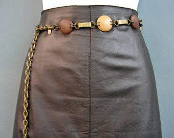 VINTAGE Wood Bead & Chain Belt-Perfect Condition-Heavy Duty Chain-made in Korea