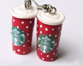 Winter Starbucks Coffee cup earrings, Old School Starbucks