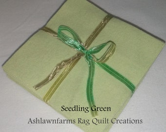 Solid SEEDLING GREEN, FLANNEL Fabric Squares, Rag Quilt, Traditional Quilting, pick size & quantity, We Cut You Sew