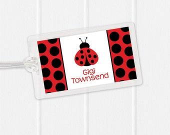 Ladybug Bag Tag - Sports Bag Tag - Diaper Bag Tag - Kids Bag Tag Luggage Tag - polka dot ladybug - girls bag tag
