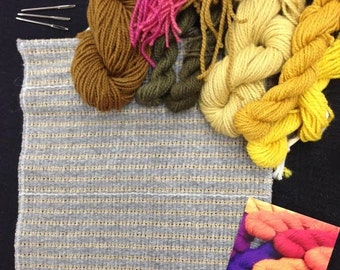 Bargain Priced Beginners Rya Rug Supplies  11.5 inch x 13 inch hemmed along with your choice of Rya yarn colors--8 oz.
