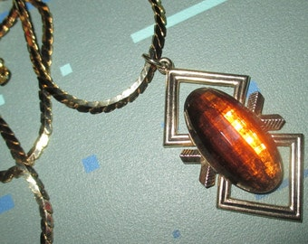 Last Call.......Vintage Emmons MOD Amber Brown Faceted Glass and Geometric Pendant Necklace