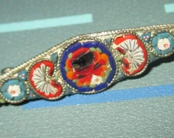 Vintage FAB Micro Mosaic Diamond Shape Rose Pin Signed Italy
