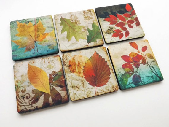 Fall Leaves drink COASTER SET autumn hostess gift holiday party favors stocking stuffers nature housewarming Thanksgiving home decor