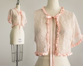 Vintage Blush Lace Satin Ruffle Trim Bolero Jacket / Size Small