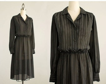 20% OFF SALE 80s Vintage Black And White Pinstripe Puff Sleeve Day Dress / Size Small / Medium