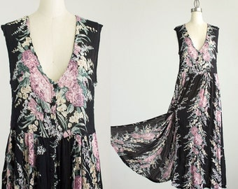90s Vintage Black Floral Print Indie Boho Button Down Jumper Tunic Maxi Dress / Size Large