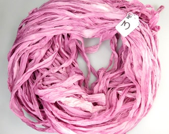 CUSTOM RESERVE KATIE  Silk Chiffon Sari Ribbon, Pink chiffon sari ribbon, pink sari ribbon, Tassel supply, knitting supply, pink ribbon