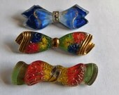 Vintage Glass BOW Buttons Hand Painted