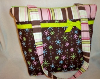 Pink brown chartreuse striped starburst 10 pockets medium New for 2016 SALE 16% off handbag diaper bag purse tote great size for all ages