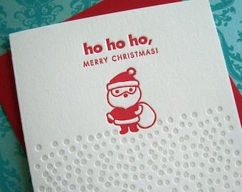 Letterpress Card Set - Santa (ho ho ho)