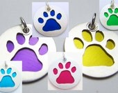Dog Paw Print Charm or Pendant in Your Choice of Colors - Sterling Silver and Anodized Aluminum