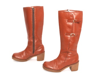 size 7 PLATFORM tan leather 60s 70s CAMPUS zip up tall GOGO boots