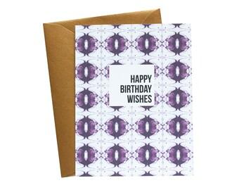 HAPPY BIRTHDAY WISHES Greeting Card Maroon Art Deco Pattern - Single Card
