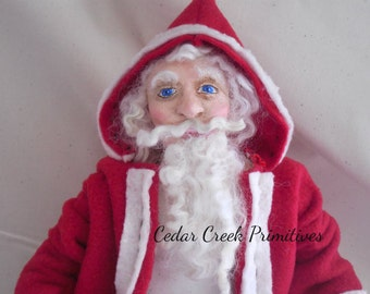 OOAK Hand Sculpted Santa/ Father Christmas by Cedar Creek Primitives