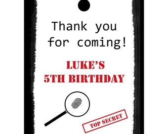 24 Personalized Birthday Favor Tags - Top Secret