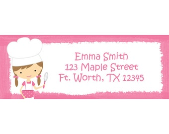 30 Personalized Return Address Labels  - Girl Chef Party - Baking Party - Little Baker