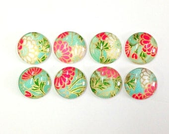 SALE- Japanese Daisy- set of 8 Glass Magnets