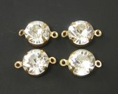 Clear Rhinestone Connectors - Gold Frame Jewelry Links Bracelet Findings |G19-2|4