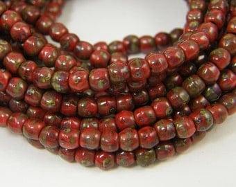 3mm Opaque Red Picasso Beads Round Czech Glass Beads Strand of 50 Beads |R5-12|50