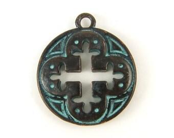 Fleur de Lis Cross Pendant Verdigris Antique Copper Round Medallion Cross Charm |GR1-12|1