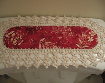 Aunt Roo's MINI Floral In Stitches Redwork fabric print w/ crocheted edging for toilet tank or small shelf