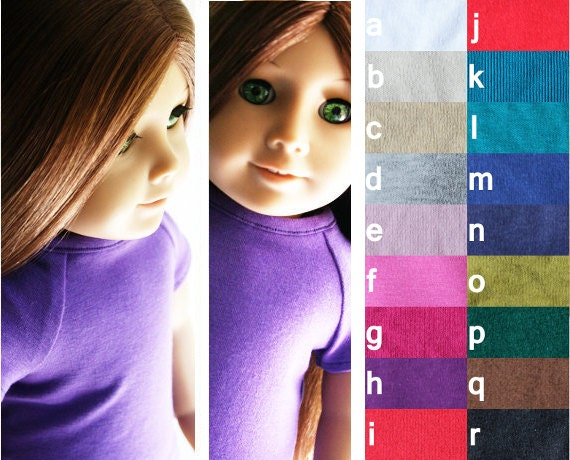 DISCONTINUED COLORS - Fits like American Girl Doll Clothes - Fitted Tee, You Choose Color and Sleeve Length